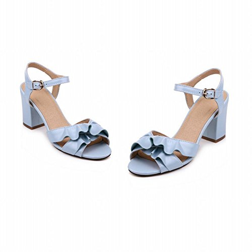 Mee Shoes Damen chunky heels Schnalle open toe Sandalen Blau