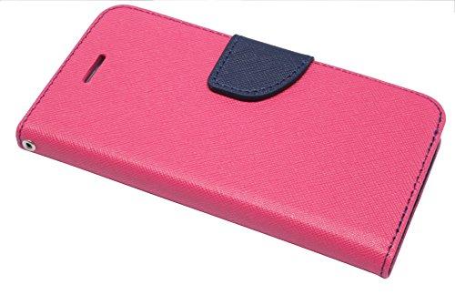 Elegante Buch-Tasche für das Iphone 7 in Pink-Blau Leder Optik Wallet Book-Style Bumper Flip-Case@ Energmix