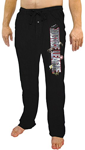 DC Comics Mens Justice League Character Logos Lounge Pants Black