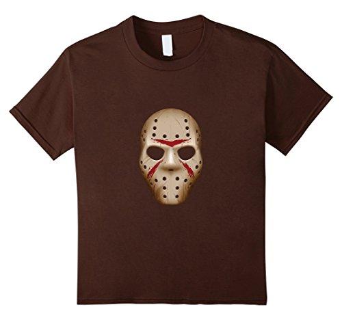 [Kids Halloween Shirt, Halloween Costume, Jason Mask Shirt 10 Brown] (Youth Jason Costume)