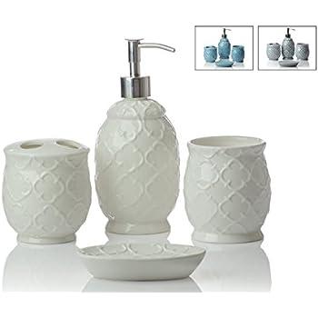 Designer 4 Piece Ceramic Bath Accessory Set | Includes Liquid Soap Or  Lotion Dispenser W/Toothbrush Holder, Tumbler, Soap Dish | Moroccan Trellis  | Contour ...