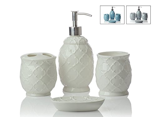 Designer 4 piece ceramic bath accessory set includes liquid soap or lotion dispenser w - Bathroom accessories dubai ...