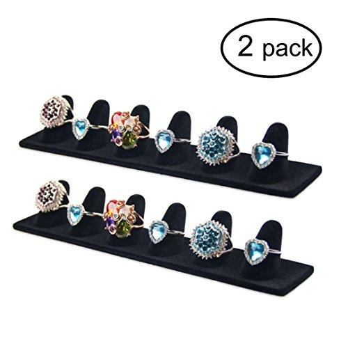 (Ginasy 2 Pack Black Velvet Finger Ring Display Stands 8.27