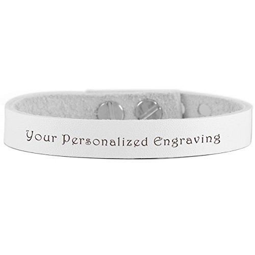 MeMeDIY White Silver Tone Alloy Genuine Leather Bracelet Bangle Adjustable - Customized Engraving