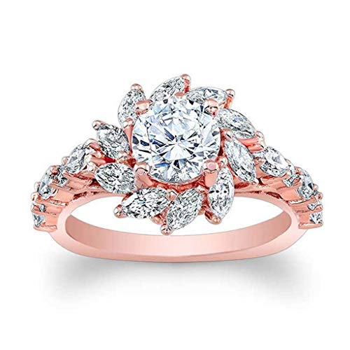 The New Of 2019 Natural Gemstone Filled Sun Flower Shape Jewelry Charm Wedding Ring Nniversary Ring Ings Size 6-10(Rose Gold,7) ()