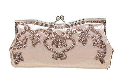Bag Bags Fully Womens Clutch Beige Beaded Reyna Fellini Evening Satin Carlo Flower wqvXAIBq