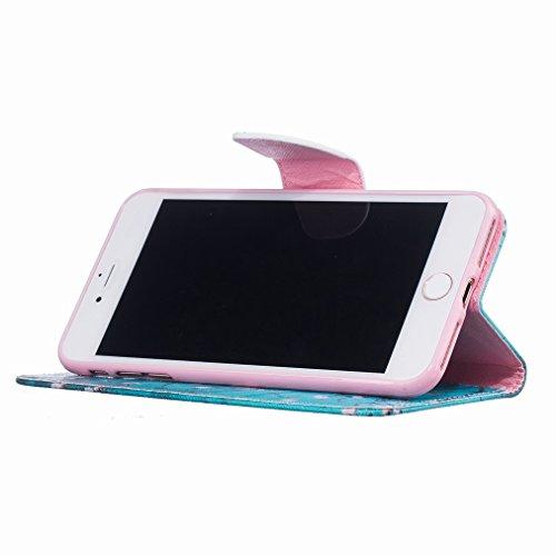 Custodia Apple iPhone 7 Pro Cover Case, Ougger Plum Fiore Portafoglio PU Pelle Magnetico Stand Morbido Silicone Flip Bumper Protettivo Gomma Shell Borsa Custodie con Slot per Schede