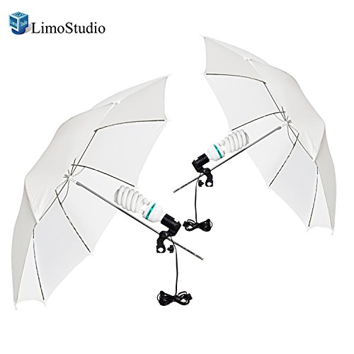 LimoStudio [Set of 2] White Translucent Umbrella Reflector with 65 W CFL Photo Bulb and Light Holder Socket, (Cfl Reflector)
