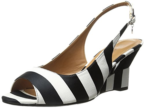 J.Renee Women's Sailaway Wedge Pump, Black/White, 10.5 W US by J.Renee