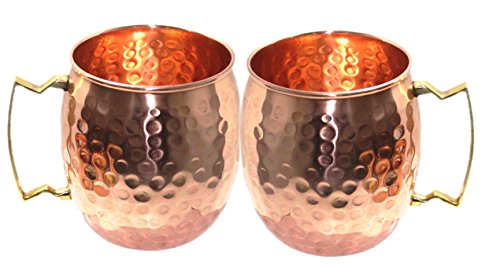 STREET CRAFT Set of 2 100% Authentic Hammered Copper Moscow Mule Mugs Handmade Pure Copper Brass Handle Hammered Moscow Mule Mug Cup Capacity 16 Oz