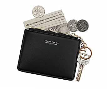 Small Wallets for Women Slim Leather Card Case Holder Minimalist Card Travel Thin Purse with Keychain (Black)