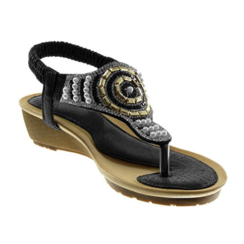 Correa Moda on Sandalias Zapatillas Perla Slip Angkorly Strass 4 Cm Negro 5 Mujer Chanclas Plataforma 5YqBwUX