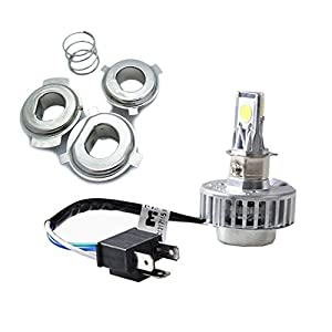 JDM ASTAR 2000 Lumens Universal Fit H4 LED Headlights for Motorcycle -Harley-Davidson and More,Xenon White