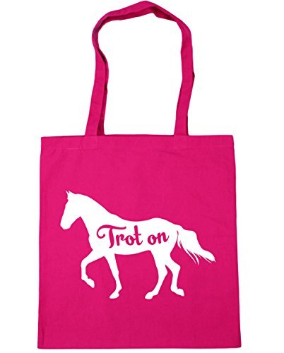Horse 10 Riding 42cm Gym Trot Bag Tote Shopping litres Fuchsia On Beach HippoWarehouse x38cm 6qEfRxP