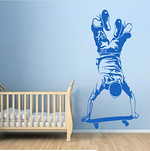 Skater Boy Wall Sticker Skateboarding Wall Decal Kids Boy Bedroom Extreme Sports Wallpaper Skateboard Vinyl Wall Poster ()