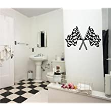 "Global Graffix Checkered Flag Style 6 wall decal sticker home decor 23"" x 13"""
