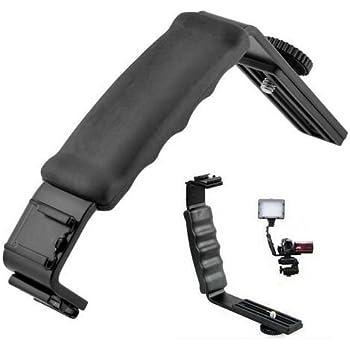 Universal Camera Grip L Bracket with 2 Standard Side Hot Shoe Mount Video Light Flash DSLR Holder Camcorder