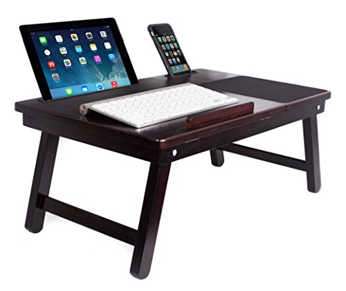 Sofia + Sam Multi Tasking Laptop Bed Tray | Lap Desk Supports Laptops Up to 18 Inches (Walnut)