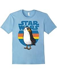 Last Jedi Porg Retro Stripes Logo Graphic T-Shirt