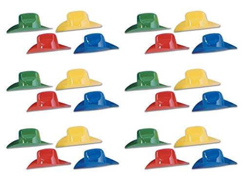 - Beistle S66091AZ6 Miniature Plastic Cowboy Hats 24 Piece, 8.5
