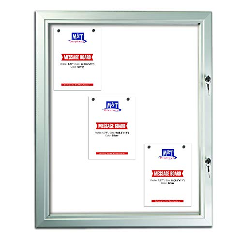 Enclosed Bulletin Board with Locking Door for Outdoor Use, Magnetic Backing, 9X(8.5x11) - Silver Aluminum Weatherproof Notice Board