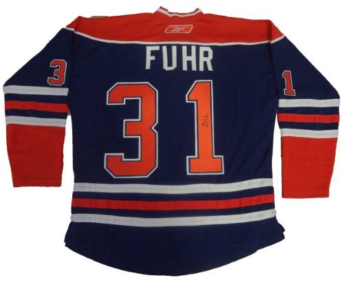 Grant Fuhr Autographed Edmonton Oilers Jersey W/PROOF, Picture of Grant Signing For Us, Hall of Fame, Edmonton Oilers, Los Angeles Kings, St. Louis Blues, Calgary Flames, Team Canada, 5 Stanley Cups