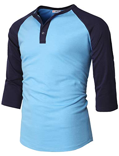 - H2H Mens Casual Slim Fit Henley T-Shirts Raglan Baseball 3/4 Sleeve Sky US M/Asia L (CMTTS237)