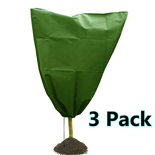 Drawstring Plant Covers Freeze Protection Warm Worth Frost Blanket 31.5″x39″ Non-Woven Greenhouse Bags for Winter Frost Cold Protection (3 Pack)
