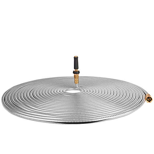 100' 304 Stainless Steel Garden Hose, Lightweight Metal Hose with Free Nozzle, Guaranteed Flexible and Kink - Series Silver 100'