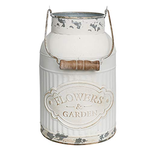Yoillione Milk Jug Vase White Farmhouse Vase Decor, Country Vase Metal Flower Vase Rustic Jug for Artificial Flowers, Cream Pitcher Vase Vintage Shabby Chic Vase, French Bucket with Handle