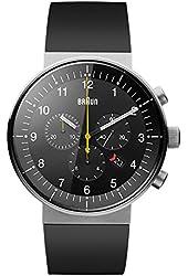 Braun Men's BN0095BKSLBKG Prestige Analog Display Swiss Quartz Black Watch