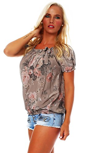 Carmen ZARMEXX motif shell courtes floral Bluse manches viscose Damen Cappuccino BIG chemise blouse ROSE rwr40Zqx