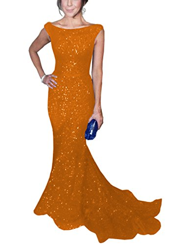 SOLOVEDRESS Women's Mermaid Sequined Formal Evening Dress for Wedding Prom Gown (US 18 Plus,Orange)