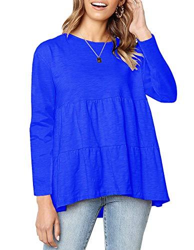 Womens Casual Loose Long Sleeve T Shirts Crewneck Blouse Loose High Low Hem Swing Tee Tops