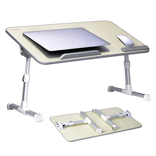 [Large Size] Adjustable Laptop Bed Coach Table, Portable Standing Desk, Foldable Sofa Breakfast Tray, Notebook Stand Reading Holder for Couch (Beige) - Avantree Minitable L - Garden Furniture Foldable Wood