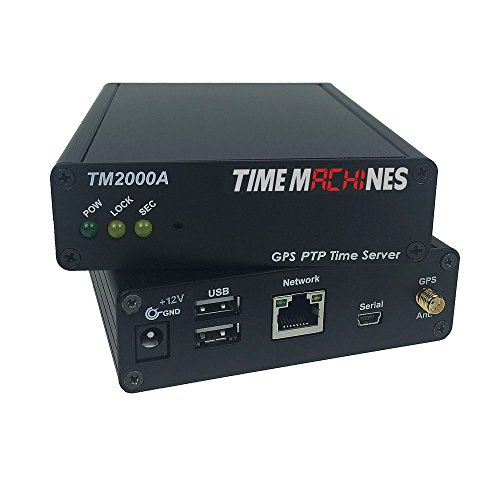 TimeMachines, PTP Network Time Server with GPS, TM2000A, A GPS Antenna maintains Current time Broadcast by U.S. Satellites