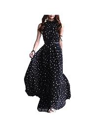 SODIAL(R) Women's Chiffon Dot Vest Maxi Full Long Dress Sleeveless With Belt Black