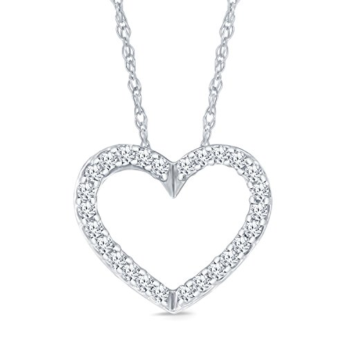1/10CT TW 10K White Gold Heart Shape Diamond Pendant Necklace (Diamond Shape Diamond Pendant)