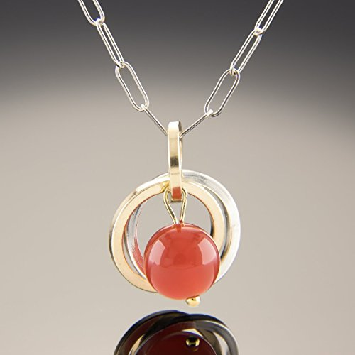 Natural Carnelian Gemstone Pendant Necklace with Sterling Silver and 14K Gold Fill - 18 inch (Carnelian Yellow Pendant)
