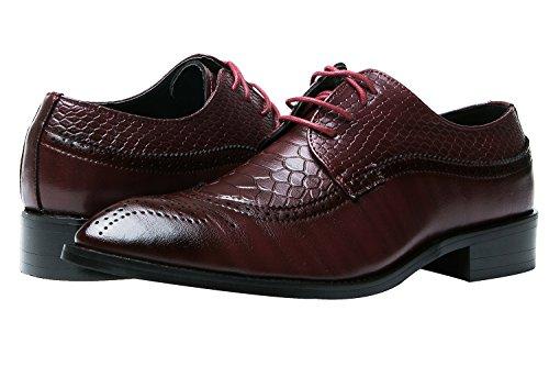Herren Oxford Derby Schuhe Schnürhalbschuhe Trachtenmoden Haferlschuh Brogue Modische Schuh Männer Rot 41 EU xqN9CcM