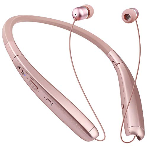 Bluetooth Headphones, Retractable Neckband Foldable, Neck Wireless Earbuds Headset with Mic Noise Cancelling HD Stereo, IPX4 Sweatproof Waterproof (Rose Gold)