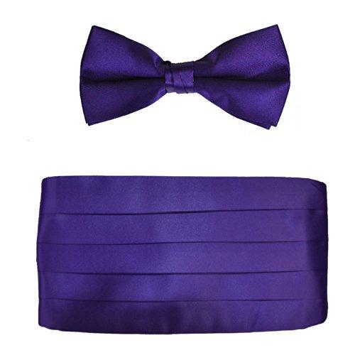 Set Mens Satin Bow amp; Tie Cummerbund Purple WqYrHqTwB