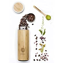 Stainless Steel Bamboo Tea Infuser with Strainer - Vacuum Insulated Coffee Travel Mug, Fruit and Juice Infuser, Wide-mouth, Portable 14.8oz (450 ml) Water Bottle Tumbler. BPA, Rust, and Leak-Free (bamboo, 13.5oz (400ml))