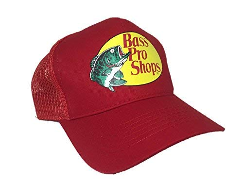 (Bass Authentic Pro Mesh Fishing Hat Adjustable, One Size Fits Most (Red))