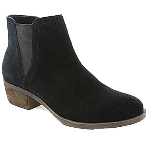 Kensie Womens Garry Suede Short Heel Ankle Booties (Black, 9)