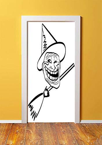 Humor Decor 3D Door Sticker Wall Decals Mural Wallpaper,Halloween Spirit Themed Witch Guy Meme Lol Joy Spooky Avatar Artful Image,DIY Art Home Decor Poster Decoration 30.3x78.107,Black White -