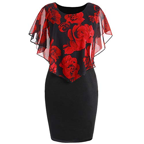 TnaIolral Women Dresses Casual Plus Size Rose Print Chiffon O-Neck Ruffles Mini Skirt ()