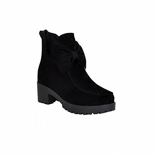 Latasa Womens Fashion Nubuck Bow Platform Mid Chunky Heel Ankle Boots with Back Zipper Black