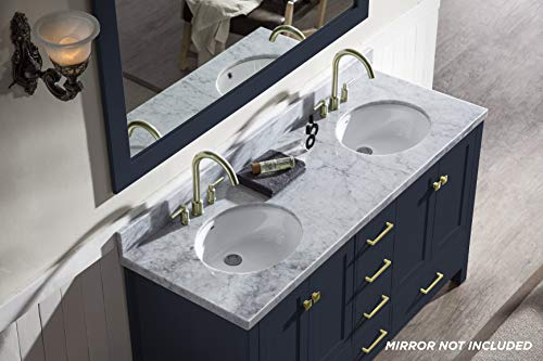 """ARIEL Cambridge A061D-VO-MNB 61"""" Inch Bathroom Vanity Cabinet in Midnight Blue with Carrara White Marble Countertop Round Oval Sinks - ✅ CONSTRUCTION: Experience the luxury of having the well-crafted cabinetry that will make you undergo a refreshing experience like never before. ARIEL brings to you the finest bathroom vanities that will not just add value to your bathroom décor but also make the access to toiletries much easier ✅ DESIGN: Double sink vanity with 4 soft-closing doors with adjustable hinges and 6 full-extension self-closing drawers with under-mount drawer glides for added stability to meet all your storage needs. Your energizing splashes with the water will not deteriorate the supreme Solid hardwood plywood construction ✅ FEATURES: Carrara White Marble countertop with 1.5"""" edge and matching backsplash. Painted with midnight blue to complement your contemporary bathroom space. 2 UPC certified oval ceramic under-mount sink and satin brass finish hardware included - bathroom-vanities, bathroom-fixtures-hardware, bathroom - 41D2gNlxOrL -"""