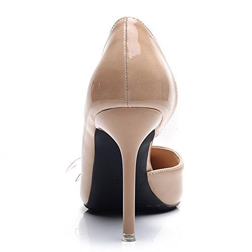 Femmes Sexy Talons Aiguilles En Cuir Verni Mode Night Club Bout Pointu Pompe Chaussures Côté Vide Avec Bowknot Abricot